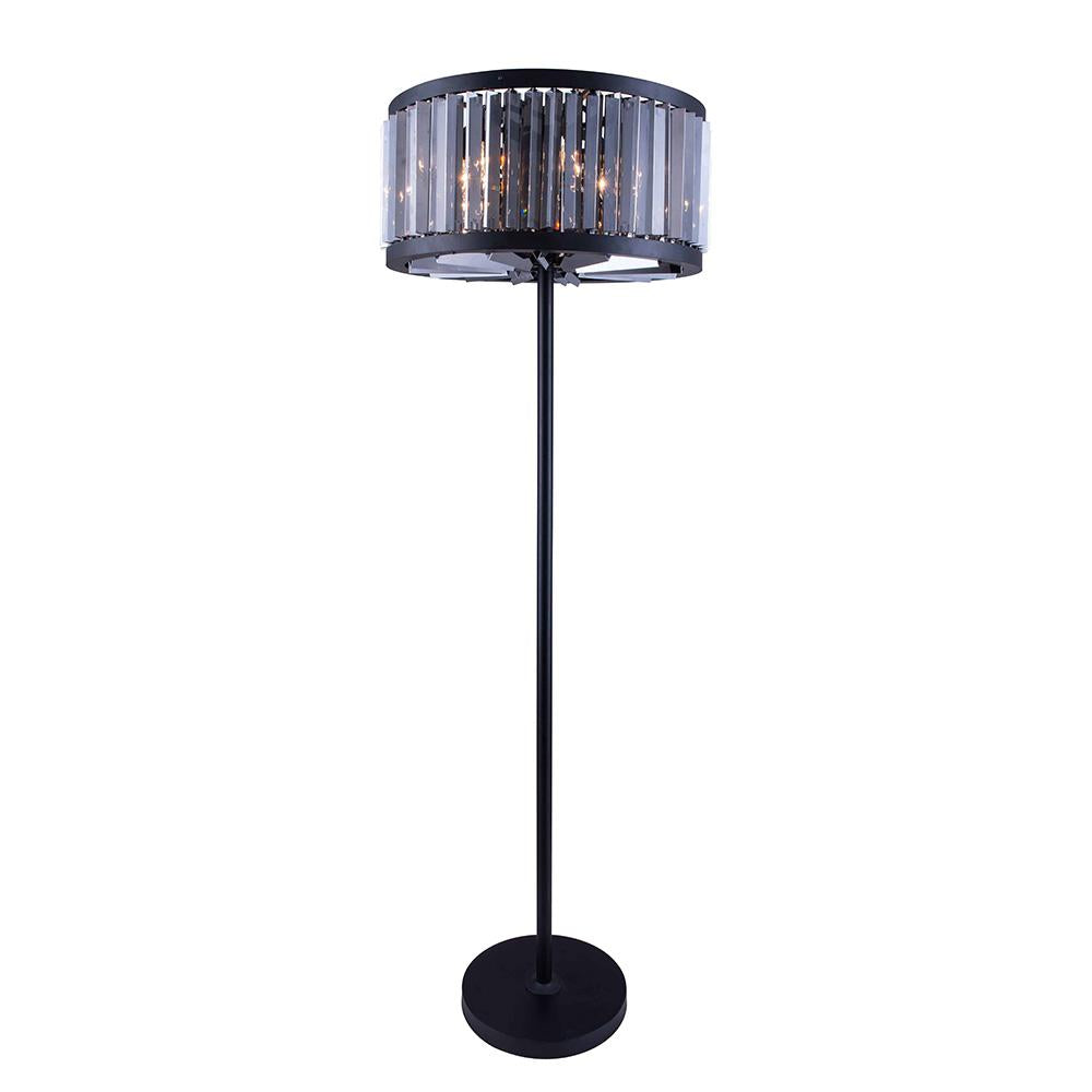 Chelsea 72 Crystal Floor Lamp With 6 Lights - Matte Black Finish And Grey Crystal Floor Lamp