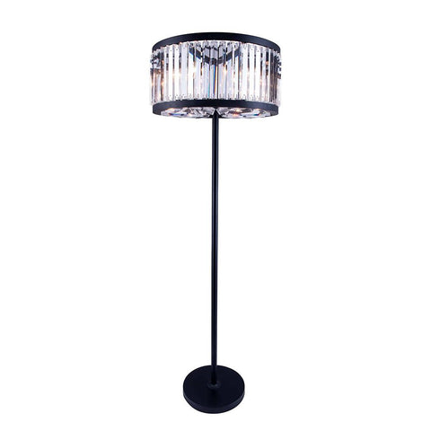 Chelsea 72 Crystal Floor Lamp With 6 Lights - Matte Black Finish And Clear Crystal Floor Lamp