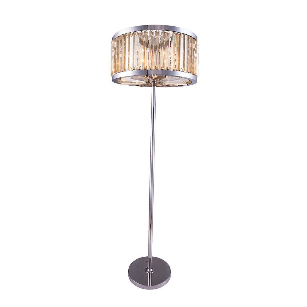 Chelsea 72 Crystal Floor Lamp With 6 Lights - Polished Nickel Finish And Smokey Crystal Floor Lamp