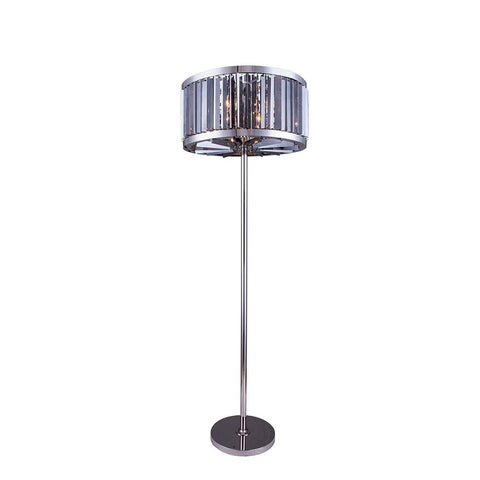 Chelsea 72 Crystal Floor Lamp With 6 Lights - Polished Nickel Finish And Grey Crystal Floor Lamp