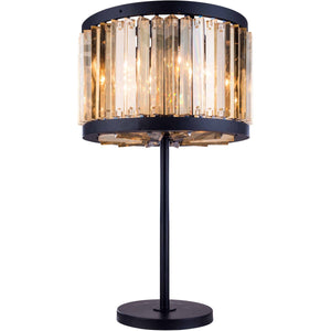 Chelsea 32 Crystal Table Lamp With 4 Lights - Matte Black Finish And Smokey Crystal Table Lamp