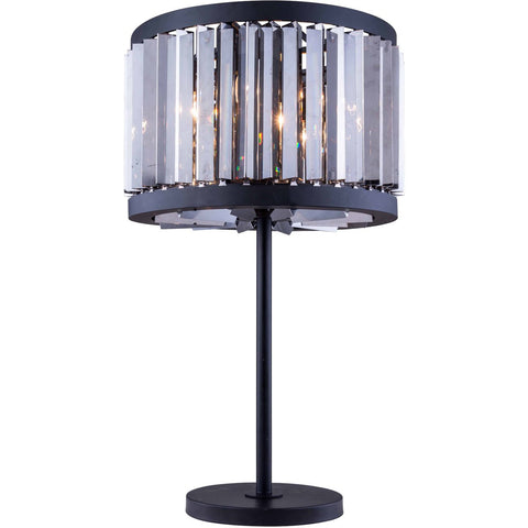 Chelsea 32 Crystal Table Lamp With 4 Lights - Matte Black Finish And Grey Crystal Table Lamp