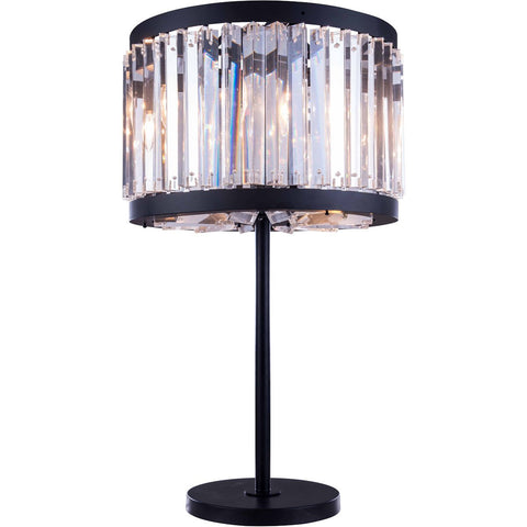 Chelsea 32 Crystal Table Lamp With 4 Lights - Matte Black Finish And Clear Crystal Table Lamp