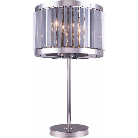 Chelsea 32 Crystal Table Lamp With 4 Lights - Polished Nickel Finish And Grey Crystal Table Lamp