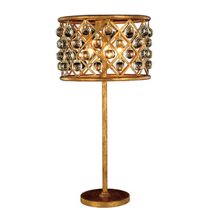 Madison 32 Crystal Table Lamp With 3 Lights - Golden Iron Finish Table Lamp