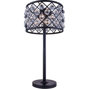 Madison 32 Crystal Table Lamp With 3 Lights - Matte Black Finish Table Lamp