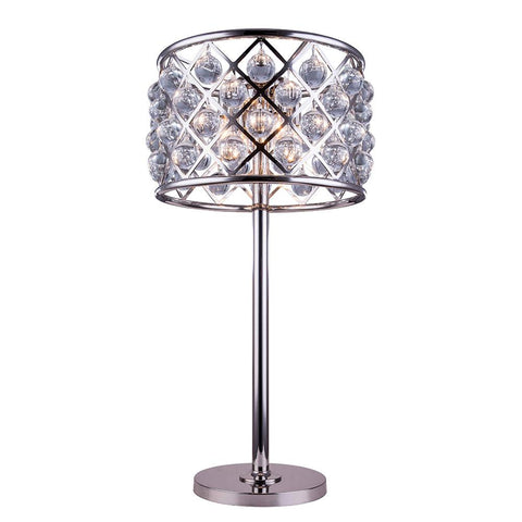 Madison 32 Crystal Table Lamp With 3 Lights - Polished Nickel Finish Table Lamp