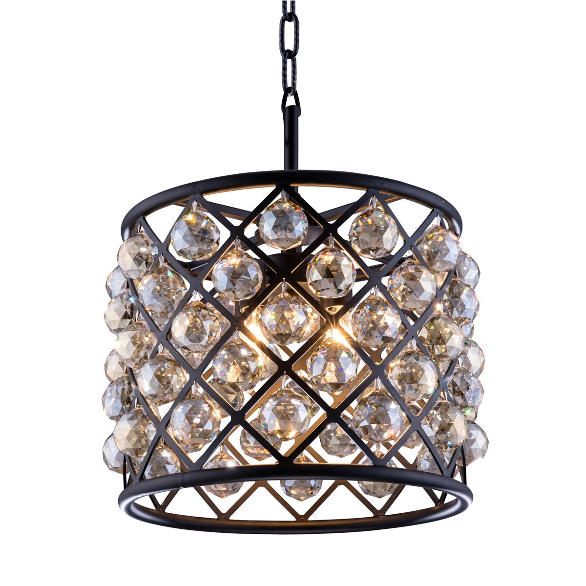 Madison 14 Crystal Mini Pendant With 4 Lights - Matte Black Finish And Smokey Crystal Pendant