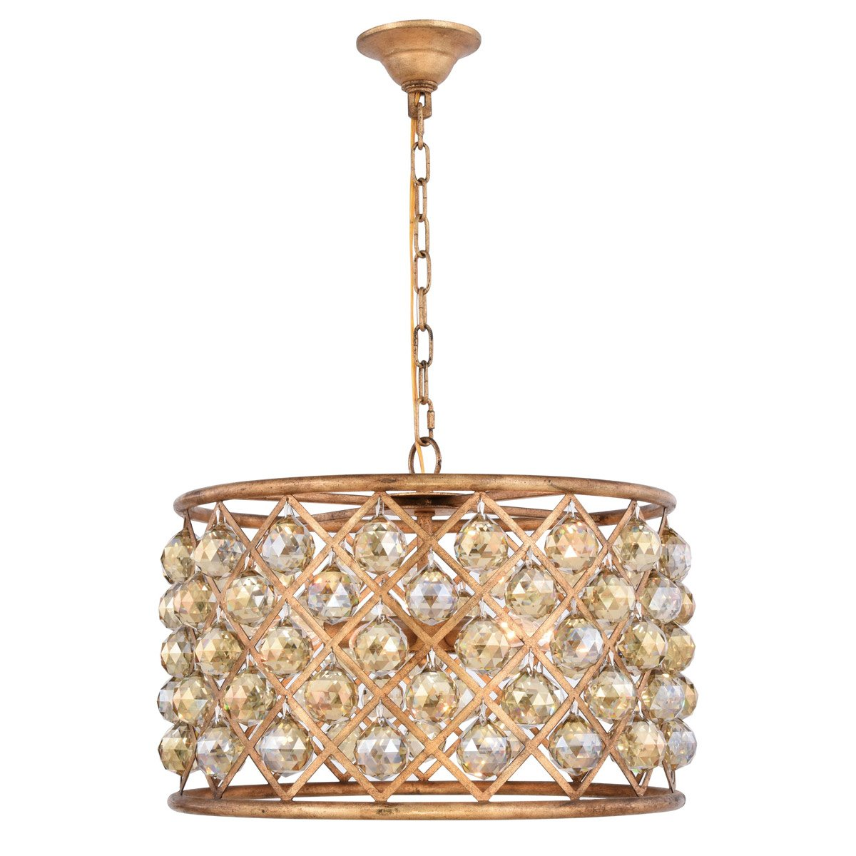 Madison 20 Crystal Pendant Chandelier With 6 Lights - Golden Iron Finish And Smokey Crystal Chandelier