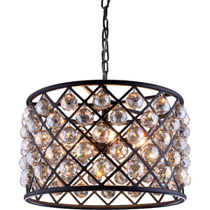 Madison 20 Crystal Pendant Chandelier With 6 Lights - Matte Black Finish And Smokey Crystal Chandelier