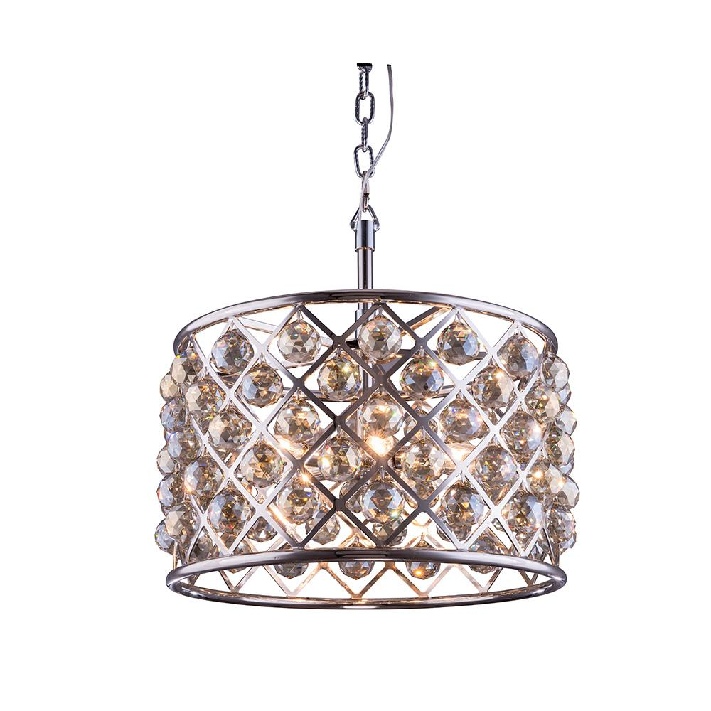 Madison 20 Crystal Pendant Chandelier With 6 Lights - Polished Nickel Finish And Smokey Crystal Chandelier