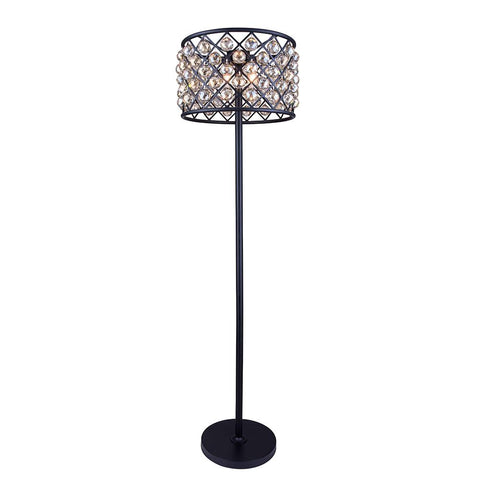 Madison 72 Crystal Floor Lamp With 4 Lights - Matte Black Finish And Grey Crystal Floor Lamp