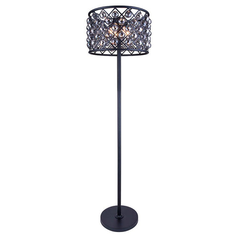 Madison 72 Crystal Floor Lamp With 4 Lights - Matte Black Finish And Smokey Crystal Floor Lamp