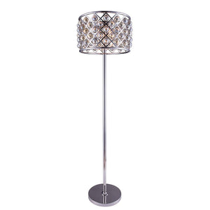 Madison 72 Crystal Floor Lamp With 4 Lights - Polished Nickel Finish And Smokey Crystal Floor Lamp