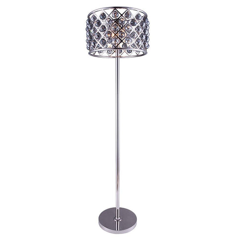 Madison 72 Crystal Floor Lamp With 4 Lights - Polished Nickel Finish And Grey Crystal Floor Lamp