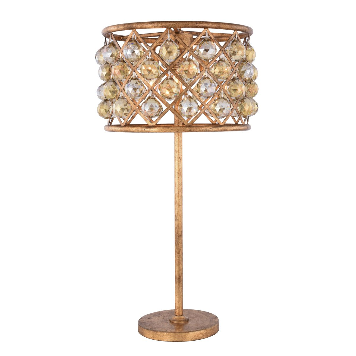 Madison 32 Crystal Table Lamp With 3 Lights Golden Iron Finish