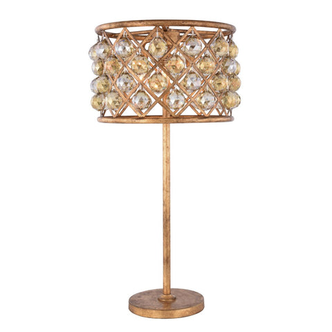 Madison 32 Crystal Table Lamp With 3 Lights - Golden Iron Finish And Smokey Crystal Table Lamp