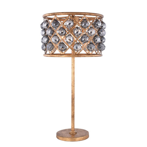 Madison 32 Crystal Table Lamp With 3 Lights - Golden Iron Finish And Grey Crystal Table Lamp