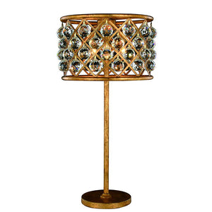 Madison 32 Crystal Table Lamp With 3 Lights - Golden Iron Finish And Clear Crystal Table Lamp