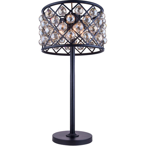 Madison 32 Crystal Table Lamp With 3 Lights - Matte Black Finish And Smokey Crystal Table Lamp