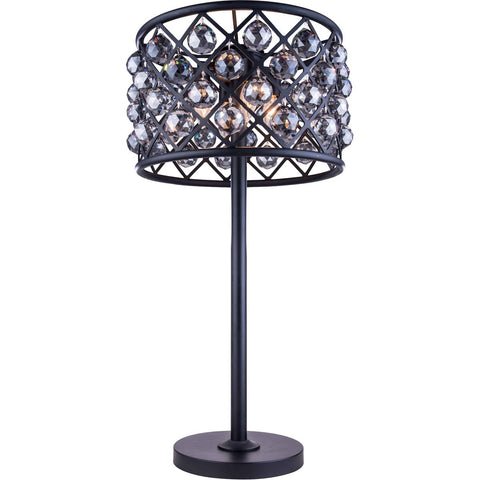 Madison 32 Crystal Table Lamp With 3 Lights - Matte Black Finish And Grey Crystal Table Lamp