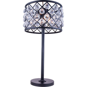 Madison 32 Crystal Table Lamp With 3 Lights - Matte Black Finish And Clear Crystal Table Lamp