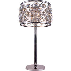 Madison 32 Crystal Table Lamp With 3 Lights - Polished Nickel Finish And Smokey Crystal Table Lamp