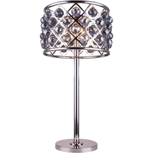 Madison 32 Crystal Table Lamp With 3 Lights - Polished Nickel Finish And Grey Crystal Table Lamp