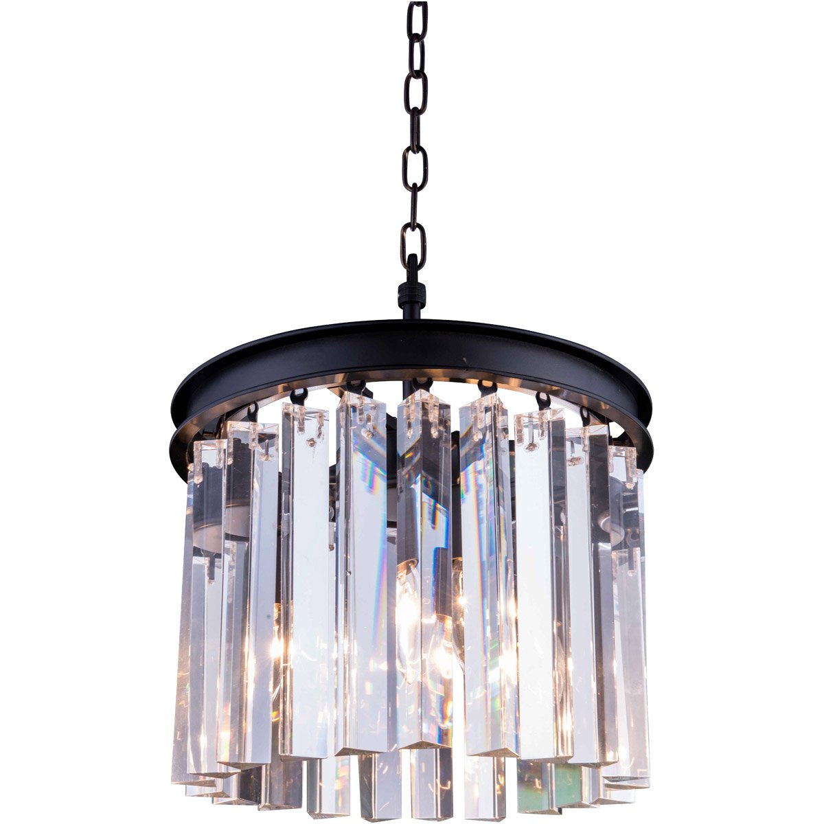 Sydney 12 Crystal Mini Pendant With 3 Lights - Matte Black Finish And Clear Crystal Pendant