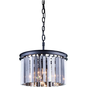 Sydney 16 Crystal Mini Pendant With 3 Lights - Matte Black Finish And Grey Crystal Pendant