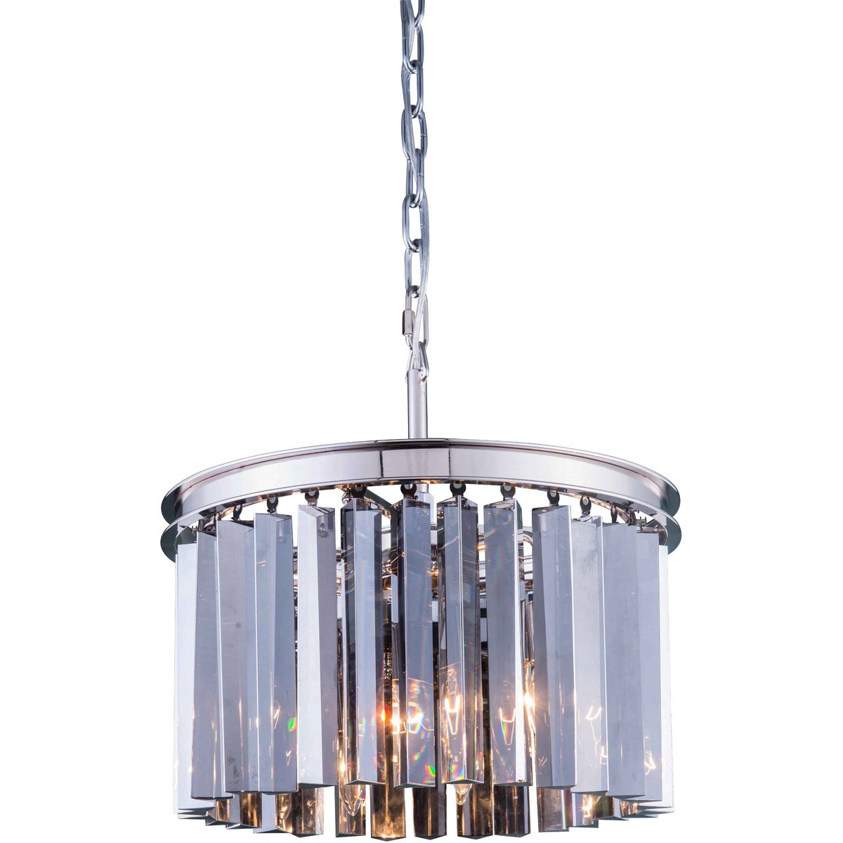 Sydney 16 Crystal Mini Pendant With 3 Lights - Polished Nickel Finish And Grey Crystal Pendant