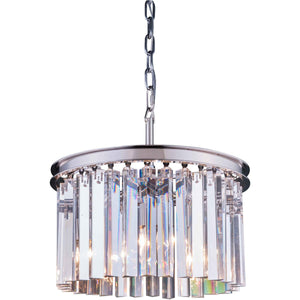 Sydney 16 Crystal Mini Pendant With 3 Lights - Polished Nickel Finish And Clear Crystal Pendant