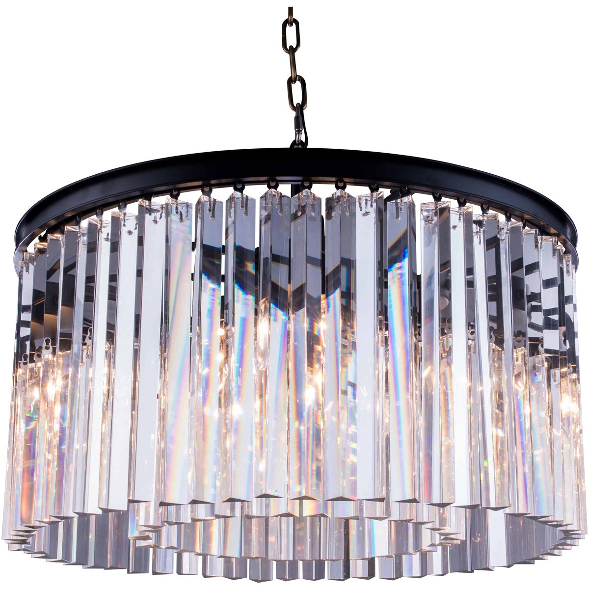 Sydney 26 Crystal Pendant Chandelier With 8 Lights - Matte Black Finish And Clear Crystal Chandelier