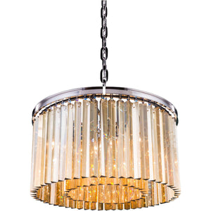Sydney 26 Crystal Pendant Chandelier With 8 Lights - Polished Nickel Finish And Smokey Crystal Chandelier