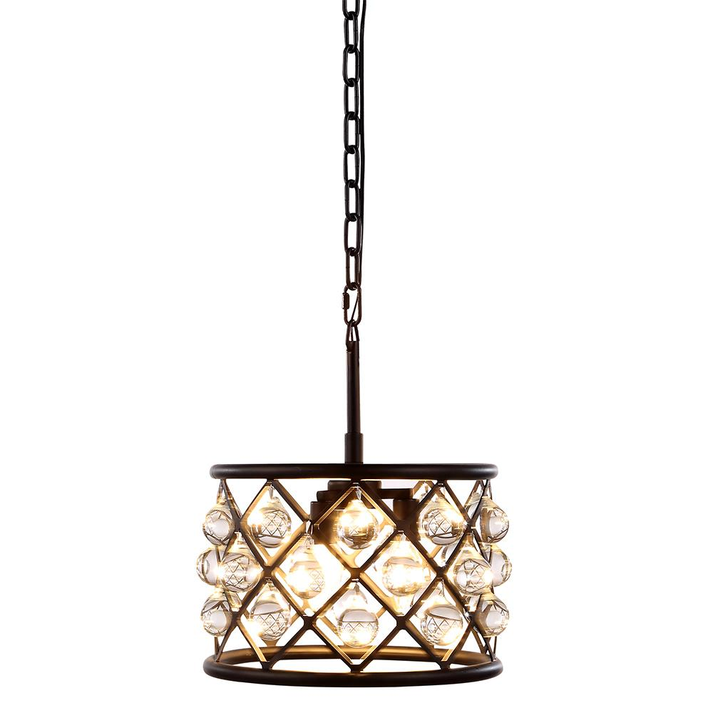 Madison 12 Crystal Mini Pendant With 3 Lights - Matte Black Finish Pendant