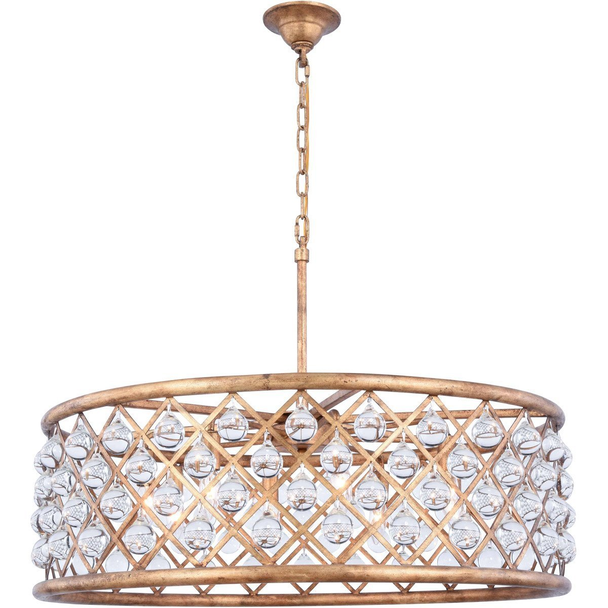 Madison 32 Crystal Pendant Chandelier With 8 Lights - Golden Iron Finish Chandelier
