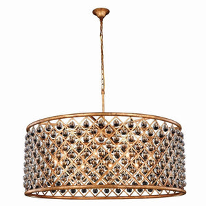 Madison 44 Crystal Pendant Chandelier With 10 Lights - Golden Iron Finish Chandelier