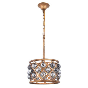 Madison 12 Crystal Mini Pendant With 3 Lights - Golden Iron Finish And Grey Crystal Pendant