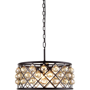 Madison 20 Crystal Pendant Chandelier With 5 Lights - Matte Black Finish And Smokey Crystal Chandelier