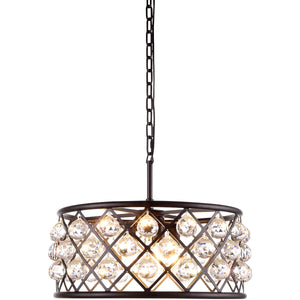 Madison 20 Crystal Pendant Chandelier With 5 Lights - Matte Black Finish And Clear Crystal Chandelier