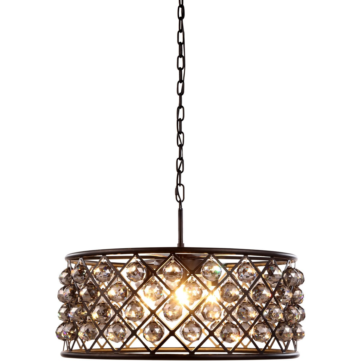Madison 25 Crystal Pendant Chandelier With 6 Lights - Matte Black Finish And Grey Crystal Chandelier