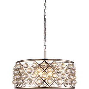 Madison 25 Crystal Pendant Chandelier With 6 Lights - Polished Nickel Finish And Clear Crystal Chandelier