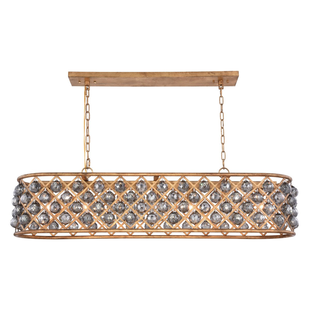 Madison 50 Crystal Island Pendant Chandelier With 7 Lights - Golden Iron Finish And Grey Crystal Chandelier