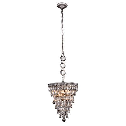 Nordic 13 Crystal Mini Pendant With 3 Lights - Antique Silver Finish Pendant