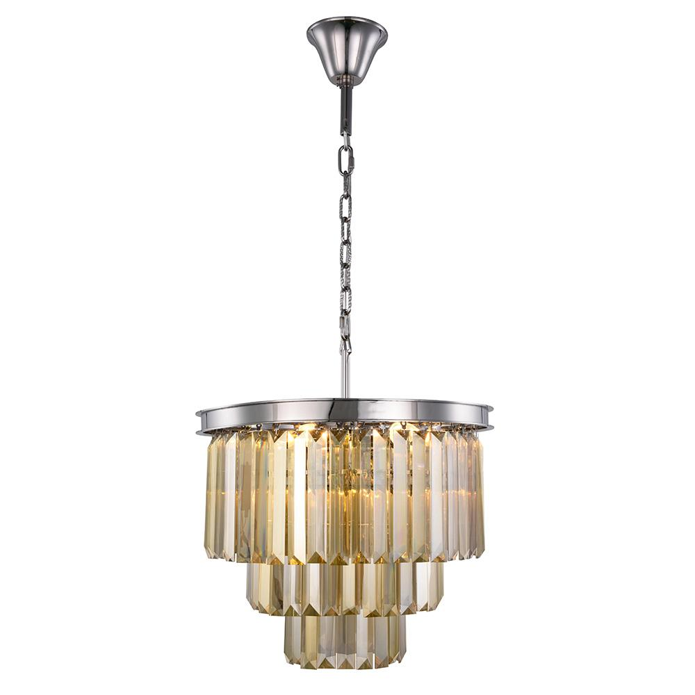 Sydney 20 Crystal Pendant Chandelier With 9 Lights - Polished Nickel Finish And Smokey Crystal Chandelier