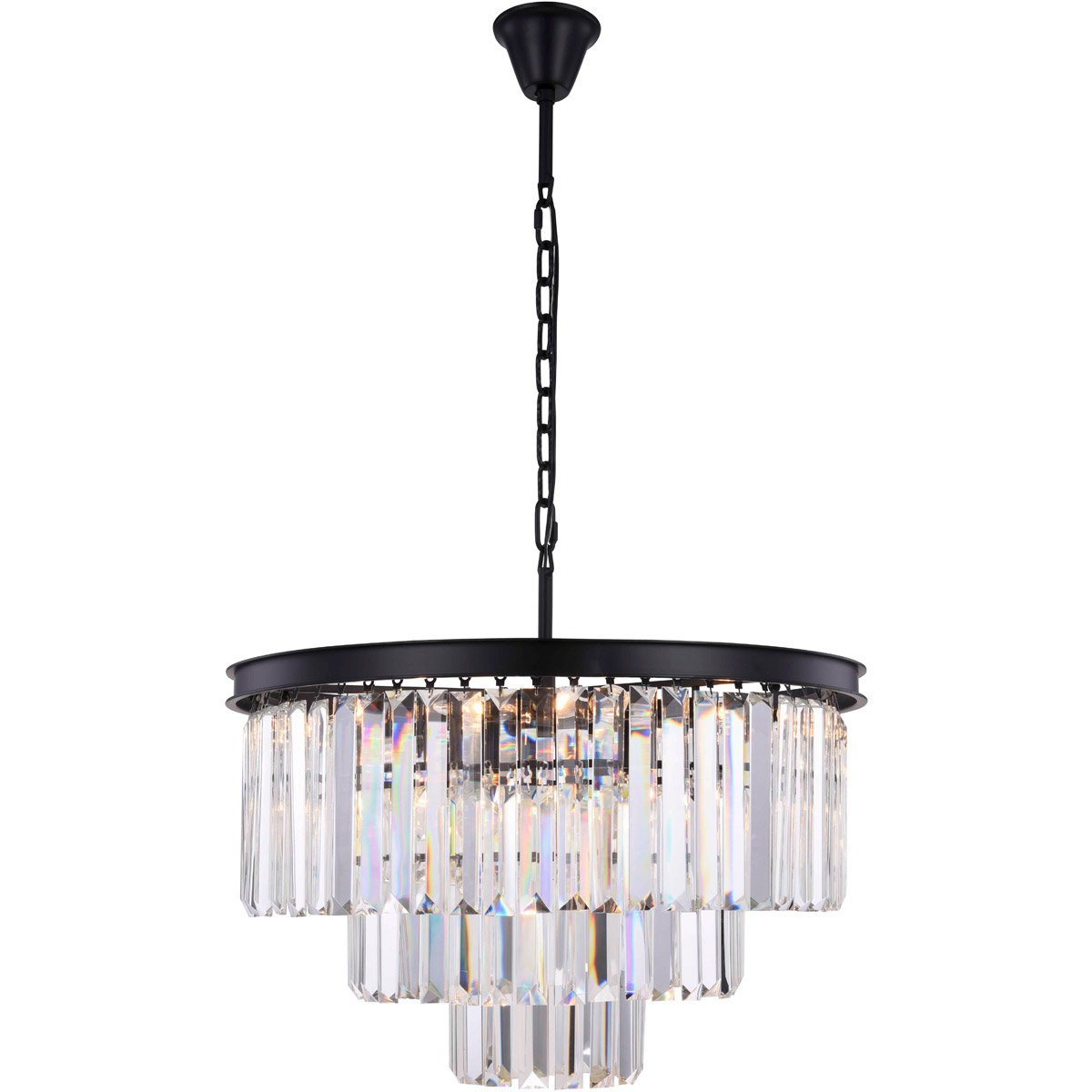 Sydney 26 Crystal Pendant Chandelier With 9 Lights - Matte Black Finish And Clear Crystal Chandelier