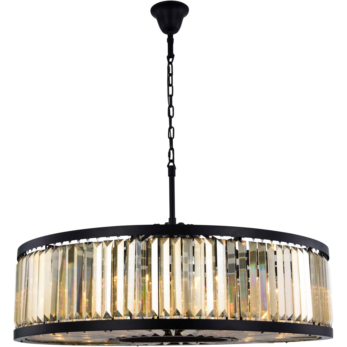 Chelsea 44 Crystal Pendant Chandelier With 10 Lights - Matte Black Finish And Smokey Crystal Chandelier