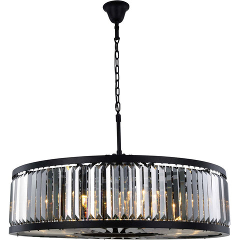Chelsea 44 Crystal Pendant Chandelier With 10 Lights - Matte Black Finish And Grey Crystal Chandelier