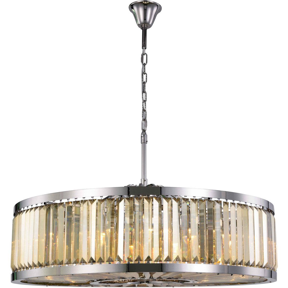 Chelsea 44 Crystal Pendant Chandelier With 10 Lights - Polished Nickel Finish And Smokey Crystal Chandelier