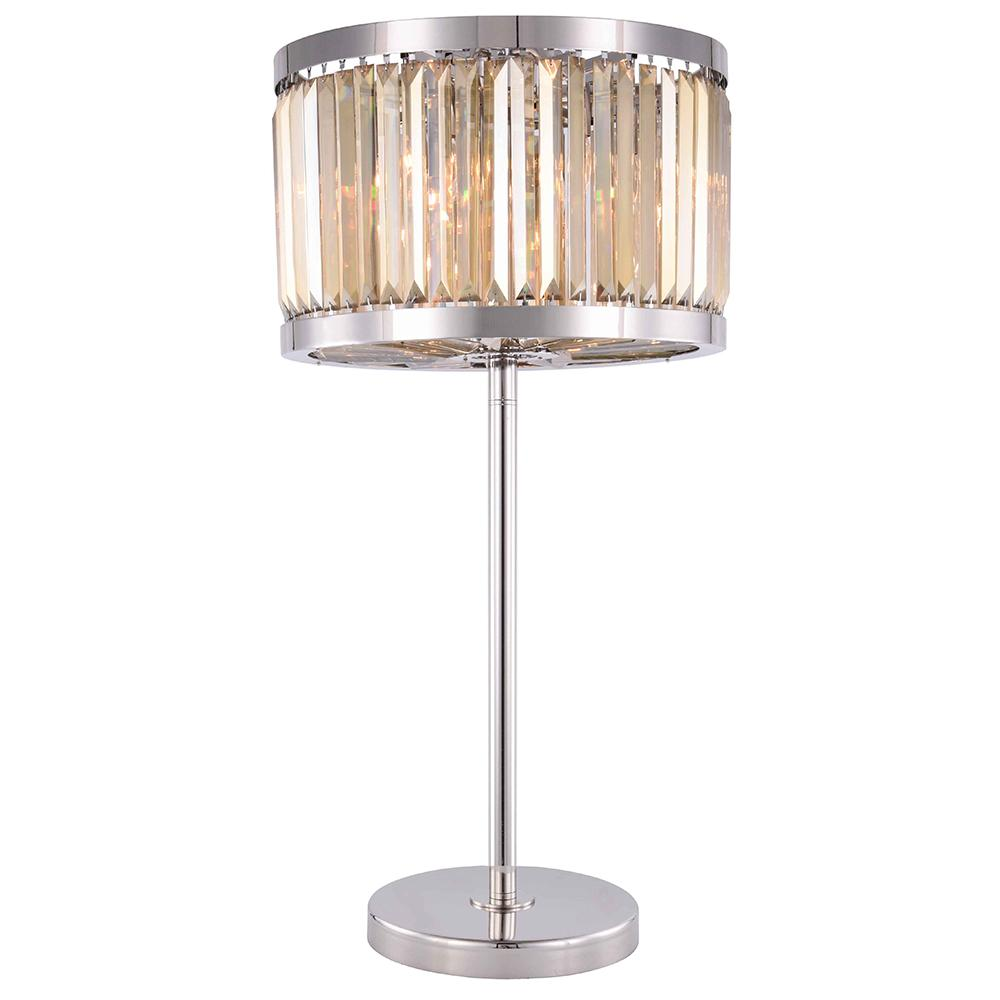 Chelsea 32 Crystal Table Lamp With 4 Lights - Polished Nickel Finish And Smokey Crystal Table Lamp